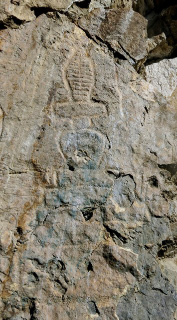 Fig. 21.4. The most northerly chorten, one of the three largest at Jomo Phuk. Note the base of five tiers and spire bisected vertically into two parts. The finial has largely worn away. It appears to have been in the same style as the large central chorten.