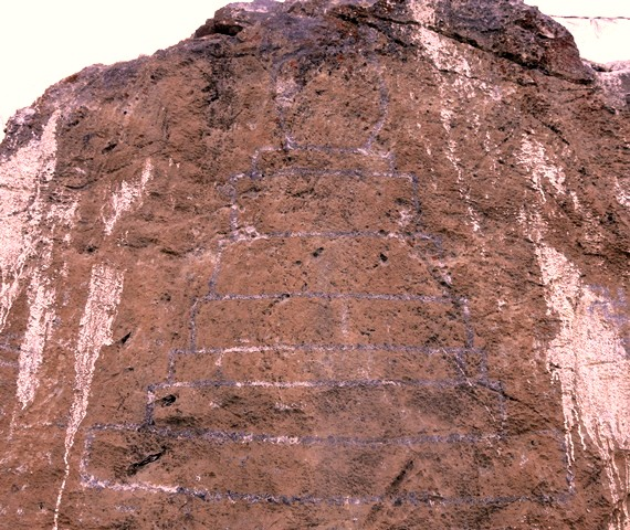 Fig. 22.1. Large, west-facing engraved chorten (1.85 m high), Pheldar. This chorten appears to be of significant age. In close proximity is the carving of a small counterclockwise swastika and what resembles the Tibetan letter A.
