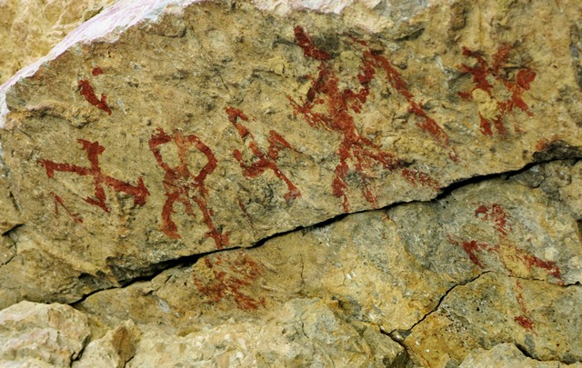 Fig. 25.2. A close-up of pictographs on the left end of the rock ceiling, Kubum. The anthropomorph appears to be depicted with a linear object in one hand and male genitalia (common in the rock art of Spiti). Note the primitive swastika below the sunburst.