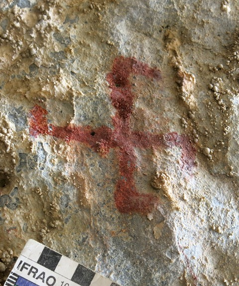 Fig. 27.12. Another swastika in Nyima Loksa Phuk. Note how the ends of the vertical axis of the swastika are out of sync with one another. This is a common feature in the ancient rock art of the western part of the Tibetan plateau, which still persists today in some of the region's folk-art.