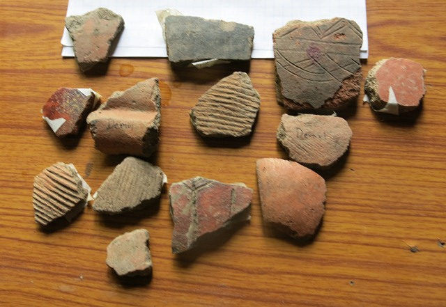 Fig. 28. Ceramics collected from the village of Demul (rGyu-dngul) in the Lingti (Gling-ti) valley, Spiti.
