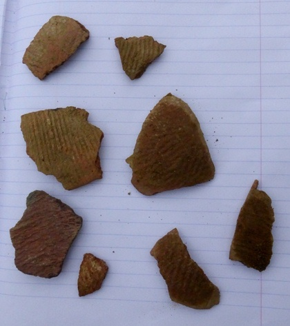 Fig. 40. Cord-and fabric-marked fragments of redware and buffware collected from the disturbed tombs of Tashigang. Photo courtesy of SRAHS.