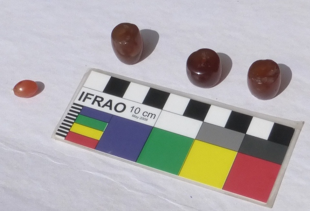 Fig. 48. Three cylindrical amber-colored agate beads. The smallest bead is made of carnelian. These beads were removed from inside the cist tomb in fig. 47. These types of beads are common in the Tibetan world where they are widely traded. Photo courtesy of SRAHS.