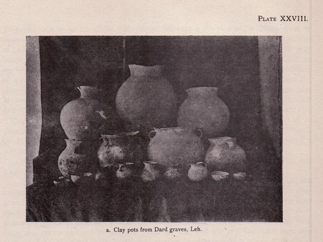 Fig. 70. Ceramics collected from tomb in Teu Serpo (Te'u gser-po), in the Ladakh valley. These vessels are attributed by A. H. Francke to the first half of the first millennium CE (Tibetan Protohistoric period). Photo credit: Shawe, in Francke 1914, fig. XXVIII, a.