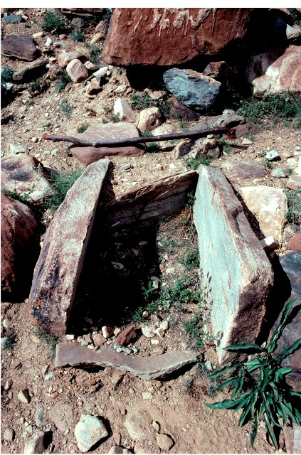 Fig. 73. A cist burial on the Lingti Chu, Lahul. The stick in the photo is 1 m long.