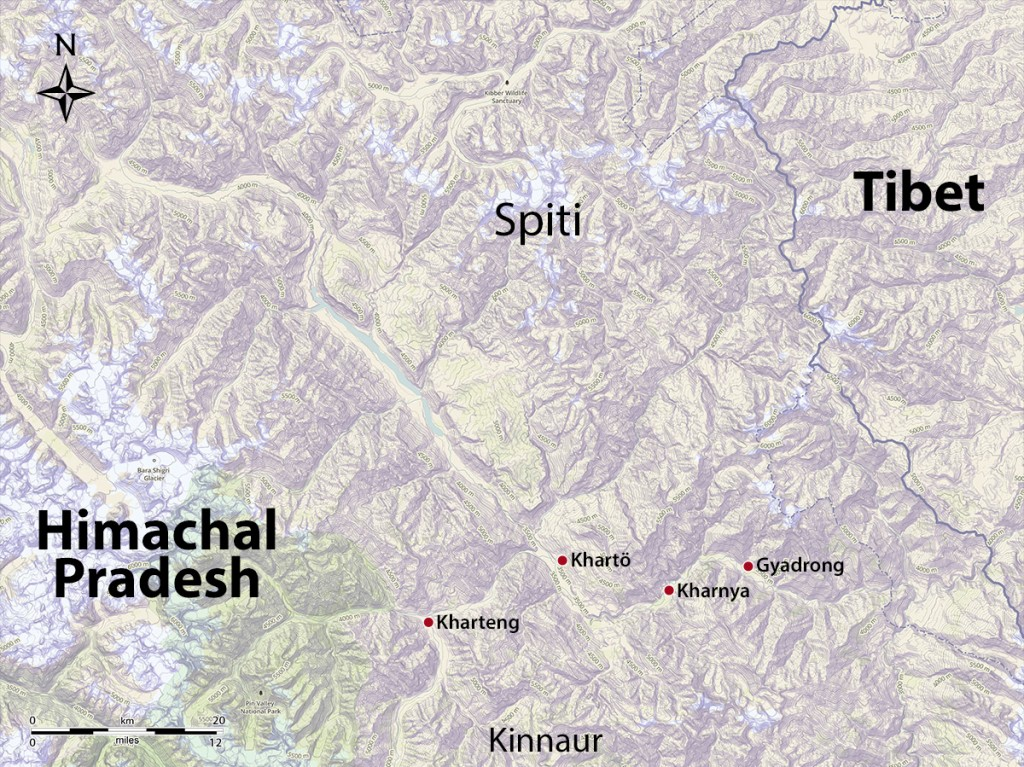 The major ancient residential sites of Spiti. Map by Brian Sebastian and John Vincent Bellezza.
