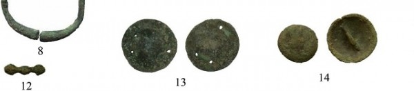 Fig. 15. Copper and bronze artifacts from the Mogou site of the Qijia culture. Of interest in the comparative study of thokchas is the object consisting of two diamond-shaped ends and rounded central portion (no. 12) and curved button with attachment bar on back (no. 14). Image credit: Jianjun Mei et al. 2015: p. 224 (fig. 2); Jianjun Mei et al. 2012, pp. 39, 40 (fig. 4).