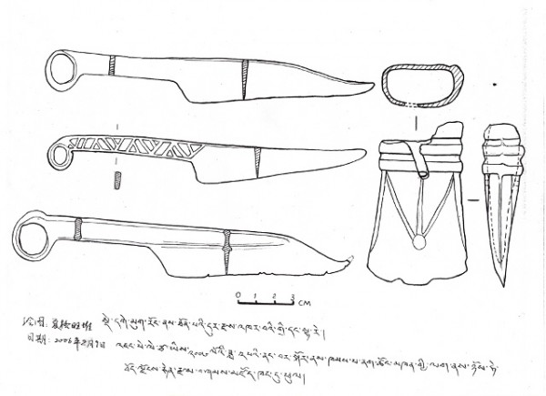 Fig. 27. Line drawings of three knives and axe head, Tibet Museum, Lhasa, 2006.