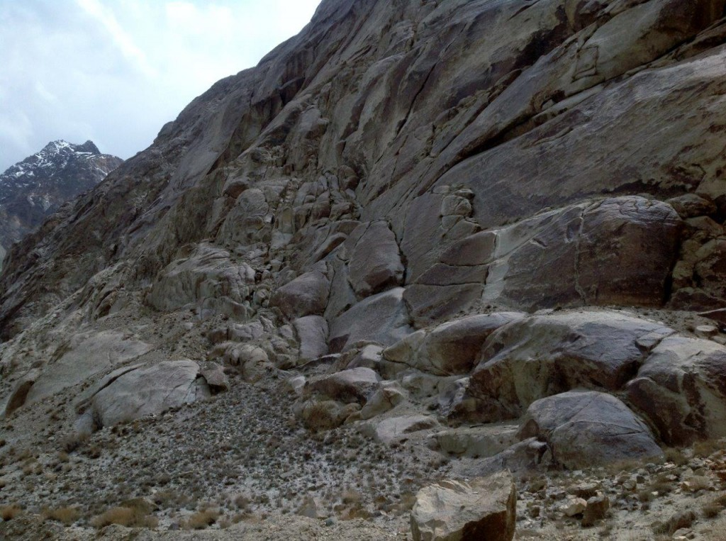 Fig. 3. A view of rocky slopes at the Khimi rock art site.