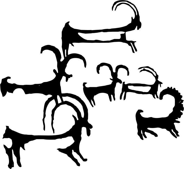 Fig. 10. The central animal figures in fig. 9. Drawing by Tashi Ldawa.
