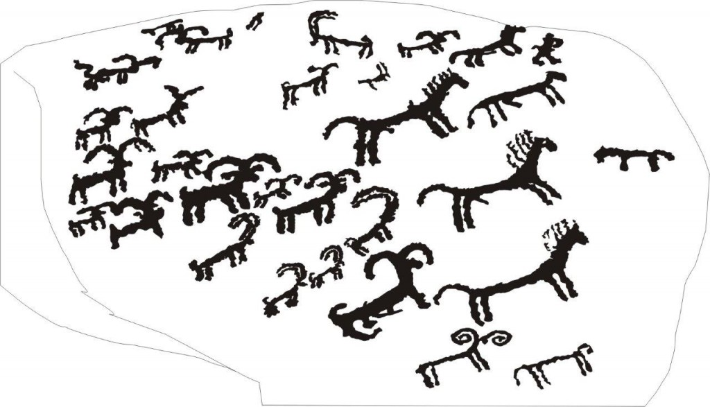 Fig. 12. A drawing of the animals in fig. 11. Drawing by Tashi Ldawa.