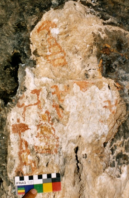 Fig. 16. Swastika surmounted by teardrop-shaped figure and stag. Protohistoric period or Early Historic period (600–1000 CE).