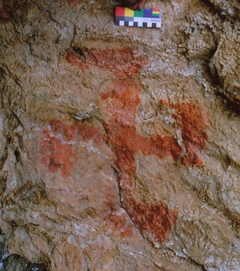 Fig. 37. Red ochre counterclockwise swastika, eastern Changthang. This specimen was painted in a cave that came to be associated with Tibet's greatest Buddhist missionary, Guru Rinpoche. This swastika is assignable to either the Protohistoric period or Early Historic period.