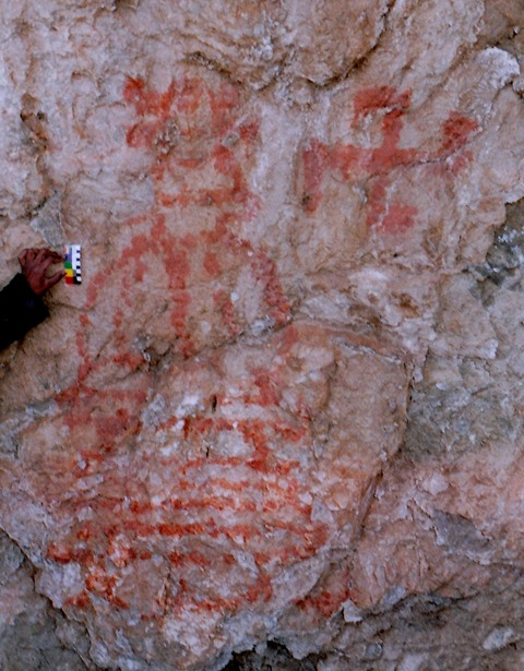Fig. 41. Large pictograph depicting unusually designed shrine and counterclockwise swastika, eastern Changthang. Early Historic period.