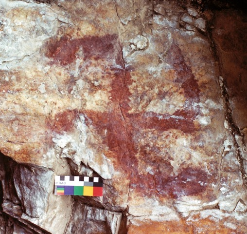 Fig. 75. Counterclockwise swastika painted in a crimson hue, eastern Changthang.
