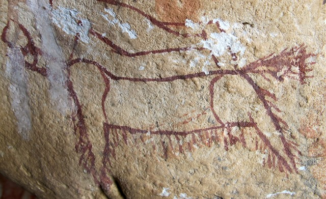 Fig. 19: A wild bull yak boldly painted in an ochre with a magenta hue. Late Bronze Age or Iron Age.