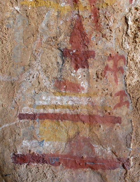 Fig. 31: A polychrome chorten or a precursory variant of shrine. Early Historic period.