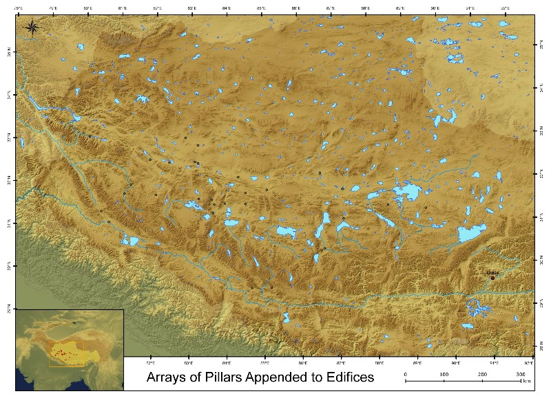 Fig. 4. Locations of the 31 sites of necropolises in Upper Tibet consisting of arrays of stelae or pillars appended to temple-tombs (after Bellezza 2008, p. 738; 2014b, p. 630).