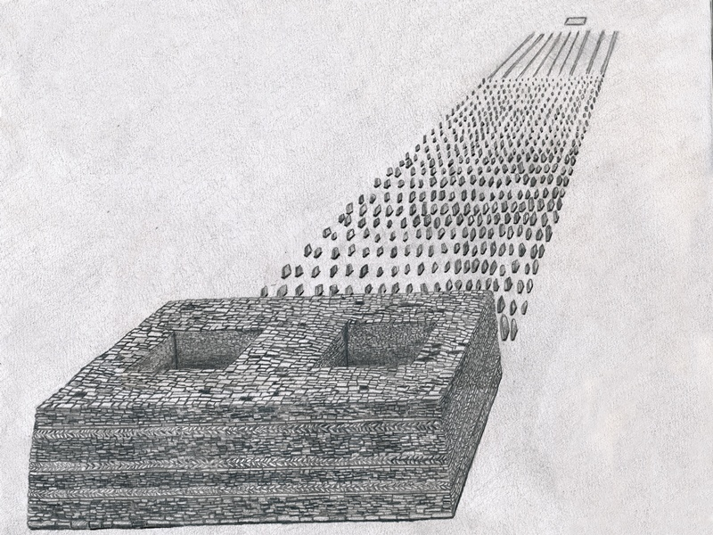 Fig. 6. An artist's reconstruction of a large stelar necropolis with a small enclosure in the foreground (after Bellezza 2014a, p. 13).
