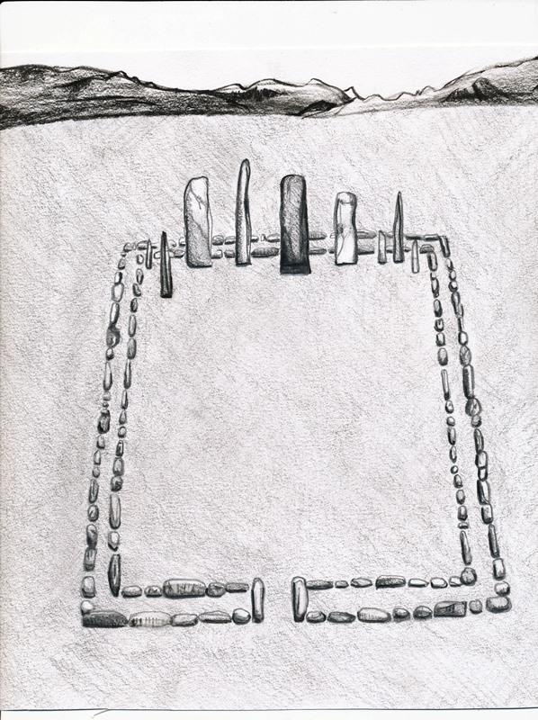 Fig. 52. Artist's conception of stelae standing inside a double-course slab wall enclosure (after Bellezza 2014a, p. 10). Typically, one or more stelae was planted near the west wall of a quadrate enclosure. In some examples, there is an opening in the east wall of the enclosure.