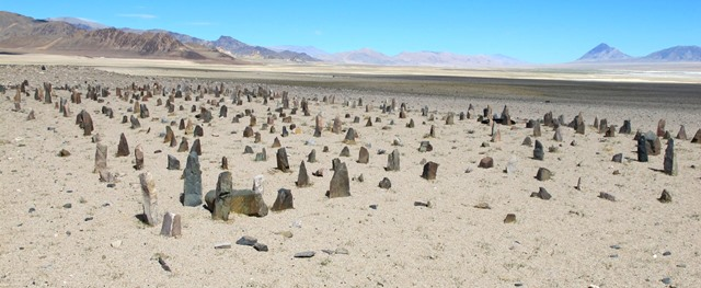 Fig. 3.  Tshab Khag Doring from the southeast. The tallest stelae of the array are in the foreground. Note the very sandy terrain in this desiccated basin. However, there are freshwater streams and pasturage in sheltered valleys in the mountain range to the south.
