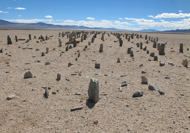 Fig. 4. The array of stelae viewed from the west. Note how the standing stones form even rows, which are aligned in the cardinal directions. More than half of the original number of stelae are now missing. In the background is the deep eastern vista, a characteristic spatial trait of stelar necropolises.