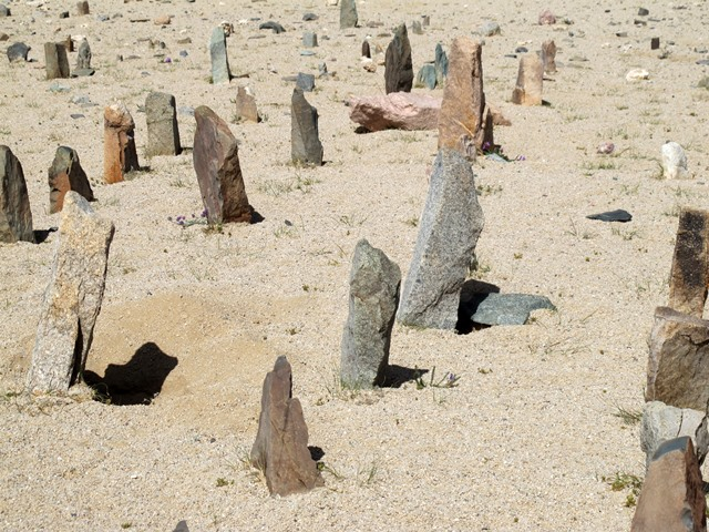 Fig. 10. Some of the multicolored stelae in the array of standing stones.