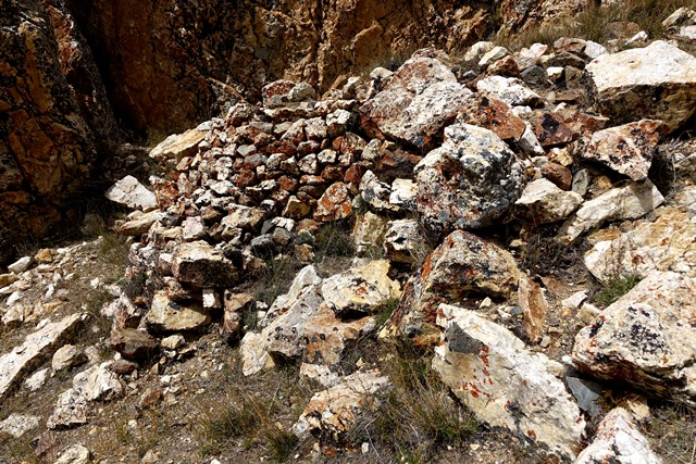 Fig. 24. The lone structure at the bottom of the upper complex, a highly degraded revetment This was part of a more extensive structure at one time. Note the orange climax lichen covering the stones of the wall.