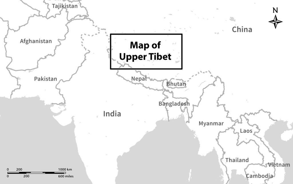 upper tibet in the wider region map by brian sebastian and j v bellezza