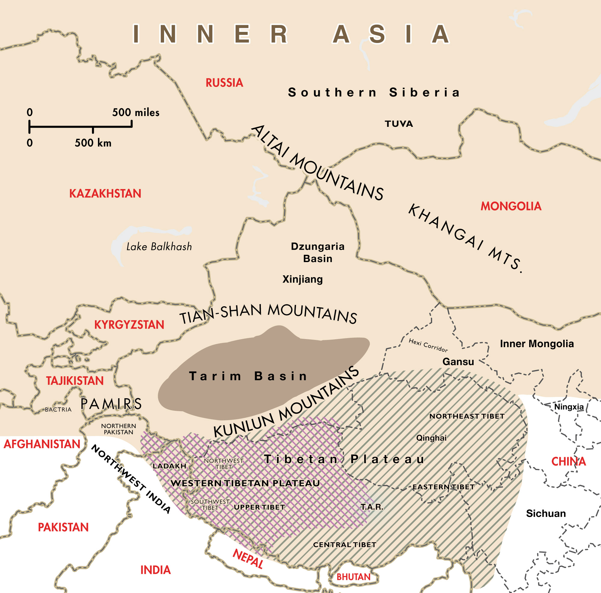 132dee4aa65c Note that Inner Asia extends eastward beyond the bounds of this map to  include the eastern half of Mongolia and the remainder of ...